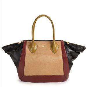 Pour la Victoire Brown Bordeaux Leather Tote Bag